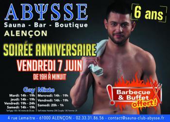 Sauna Club Abysse Alençon - Gay : Anniversaire Abysse - 2019-06-07T19:00:00 - 2019-06-07T23:59:00