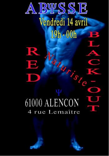 Sauna Club Abysse Alençon - Soirée gay : Naturiste Red Black-out - 2017-04-14T19:00:00 - 2017-04-14T23:59:00