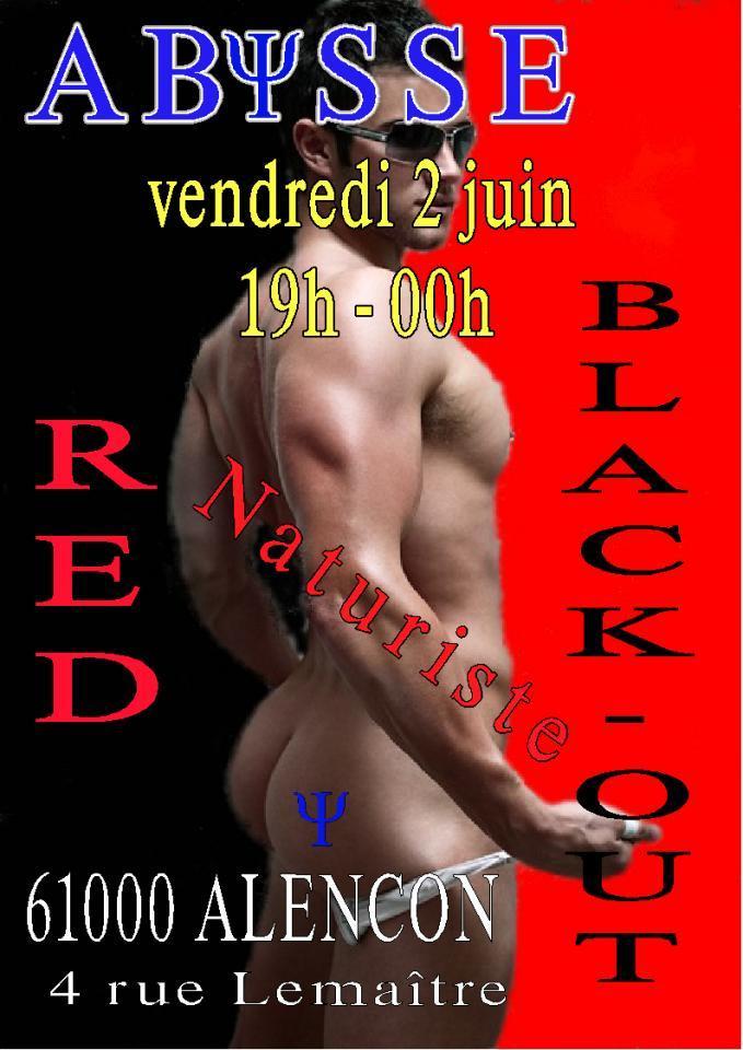 Sauna Club Abysse Alençon - Soirée gay : Naturiste Red Black-out - 2017-06-02T19:00:00 - 2017-06-02T23:59:00