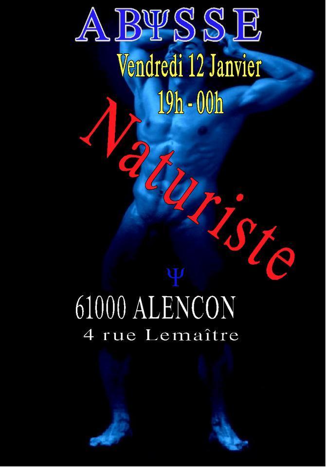 Sauna Club Abysse Alençon - Soirée gay : NATURISTE - 2018-01-12T19:00:00 - 2018-01-12T23:55:00