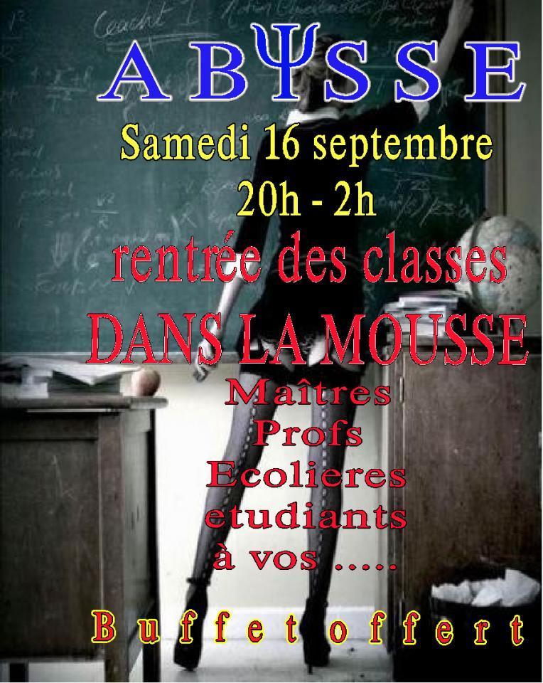 Sauna Club Abysse Alençon - Soirée mixte : Rentrée des classes - Soirée Mousse - 2017-09-16T20:00:00 - 2017-09-17T02:00:00
